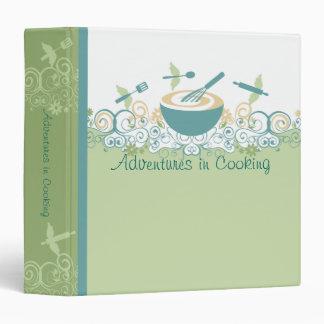 Flying cooking baking utensils recipe cookbook bin binder