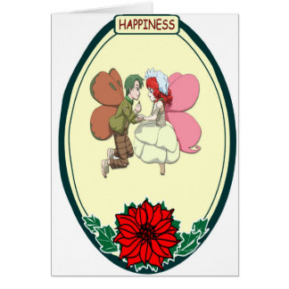 Flying couple, happiness card