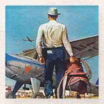 Flying Cowboy by Mead Schaeffer Glass Coaster