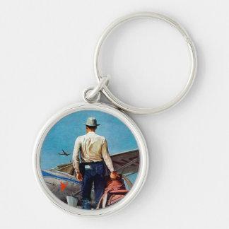 Flying Cowboy by Mead Schaeffer Keychain