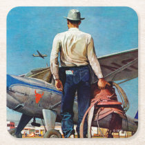 Flying Cowboy by Mead Schaeffer Square Paper Coaster