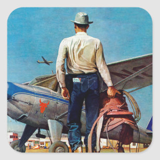 Flying Cowboy by Mead Schaeffer Square Sticker