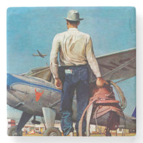Flying Cowboy by Mead Schaeffer Stone Coaster