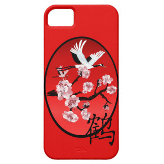 Flying Crane and Sun-cherry blooms iPhone 5 Case