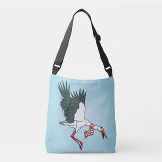 Flying Crane Wearing A Neck Scarf Crossbody Bag
