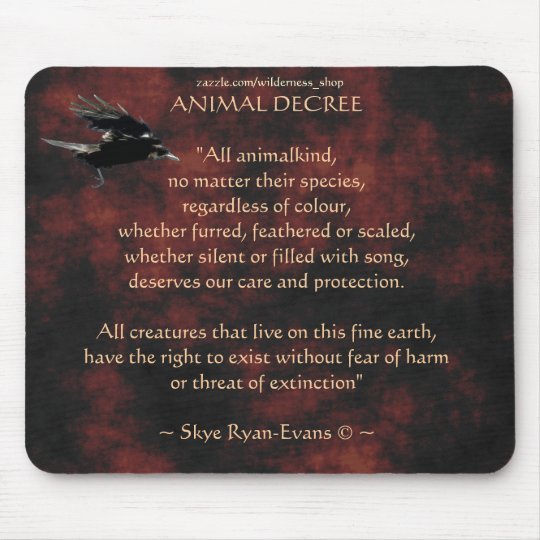 Flying Crow Animal Protection Poem Mouse Pad