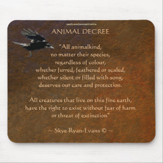 Flying Crow & Animal Protection Poem Mouse Pad