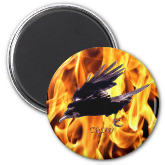 Flying Crow & Burning Flames Mythology Series 2 Inch Round Magnet