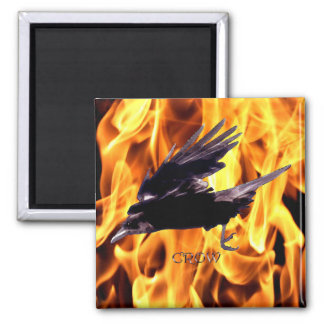 Flying Crow & Burning Flames Native American 2 Inch Square Magnet
