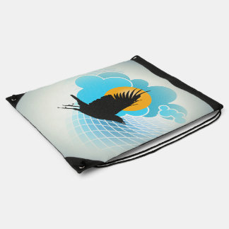 Flying Crow Drawstring Backpack