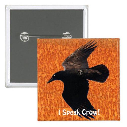 FLYING CROW I Speak Crow! Wildlife Bird Art 2 Inch Square Button