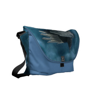 Flying Crow in a Storm Watercolour Design Messenger Bag