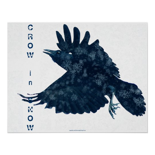 Flying Crow in Snow Modern Art Poster