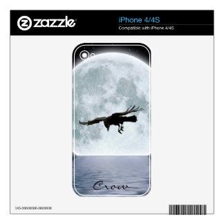 Flying Crow & Moon 4 Wildlife Art iPhone 4 Skin