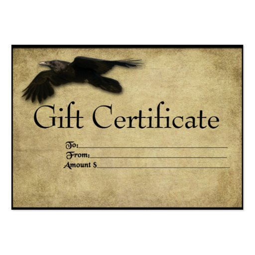 flying_crow_prim_gift_certificate_cards_business_card ...