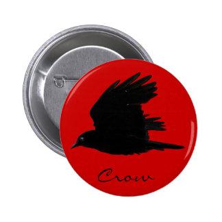 FLYING CROW Raven Wildlife Bird Art Pinback Button