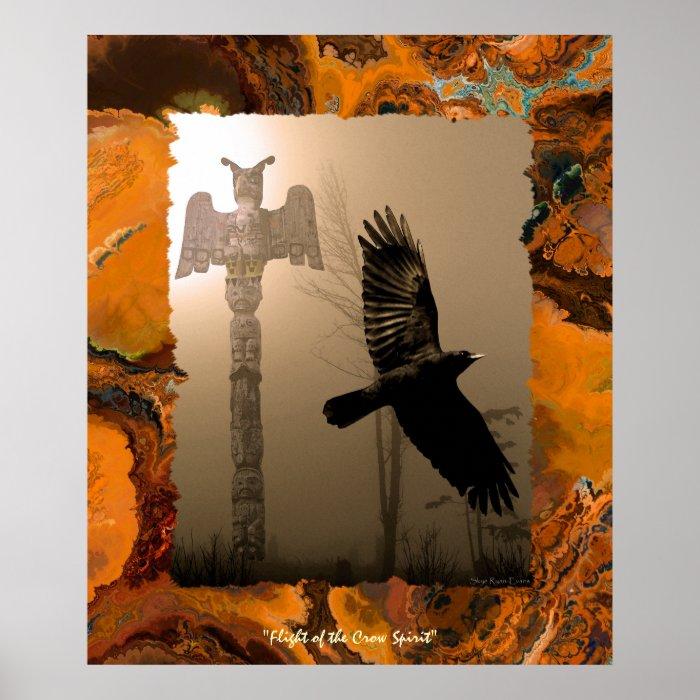 Flying Crow Spirit & Totem Pole Art Poster
