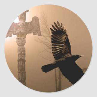 Flying Crow Spirit & Totem Pole Sacred Art Classic Round Sticker