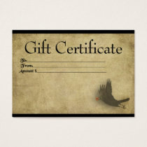 Flying Crow With Berry- Prim Gift Certificate Card