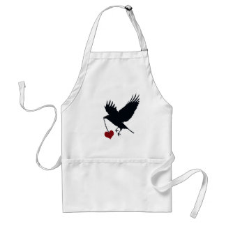Flying Crow With Stolen Heart Adult Apron