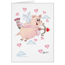Flying Cupid Piggy Valentine's Day Card