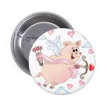 Flying Cupid Piggy Valentine's Day Pinback Button
