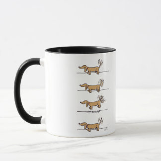 Flying Dachshund cartoon right hand mug