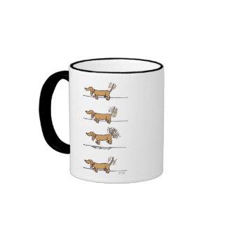 Flying Dachshund cartoon right hand mug