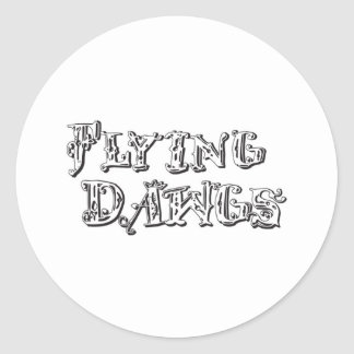 Flying Dawgs Logo White Classic Round Sticker