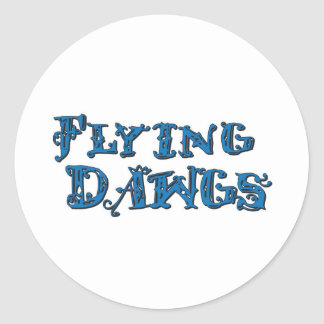 Flying Dawgs Stacked Logo Blue Classic Round Sticker