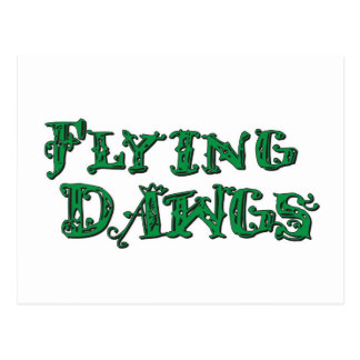 Flying Dawgs Stacked Logo Green Postcard
