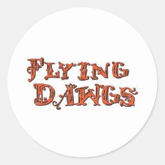 Flying Dawgs Stacked Logo Orange Classic Round Sticker