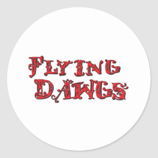 Flying Dawgs Stacked Logo Red Classic Round Sticker