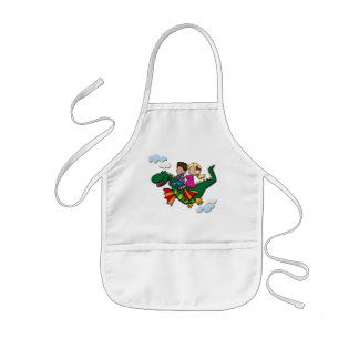 Flying Dino with Kids Kids' Apron