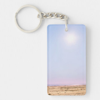 Flying Disc at the Beach Keychain