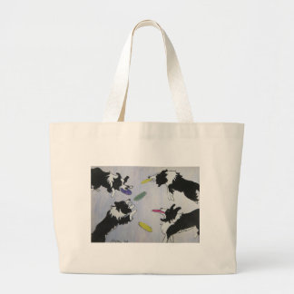 Flying Disc Dogs Large Tote Bag