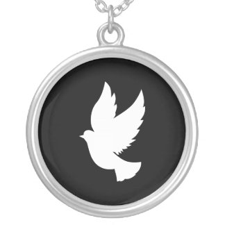 Flying Dove Round Pendant Necklace