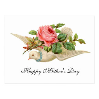 FLYING DOVE WITH PINK ROSE Mother's Day Postcard