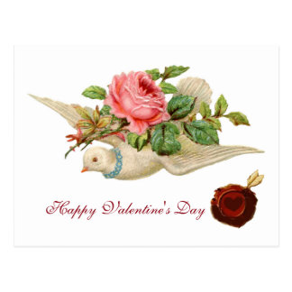 FLYING DOVE WITH PINK ROSE Valentine's Day Post Cards
