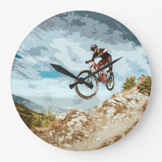 Flying Downhill on a Mountain Bike Large Clock