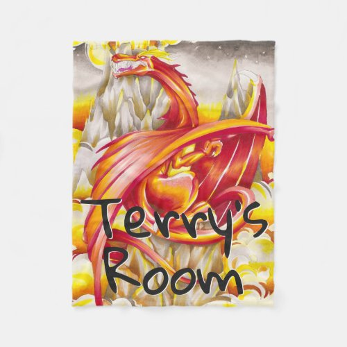 Flying Dragon and Volcano Personalized Fleece Blanket