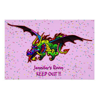 Flying Dragon bedroom door poster