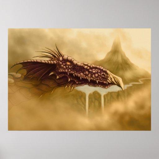 flying dragon fantasy poster