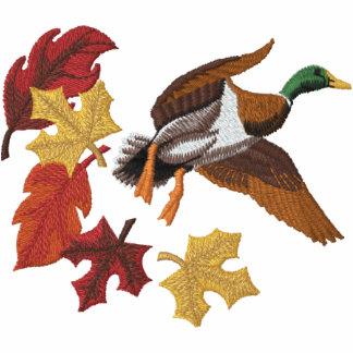 Flying Duck and Fall Leaves