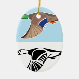 Flying Duck Vector Illustration Ceramic Ornament