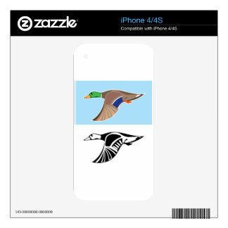 Flying Duck Vector Illustration iPhone 4S Decal