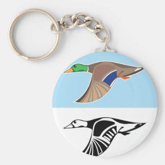 Flying Duck Vector Illustration Keychain
