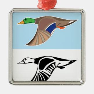 Flying Duck Vector Illustration Metal Ornament