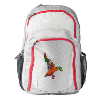 Flying Duck Wearing Spotty Boots Cartoon Backpack