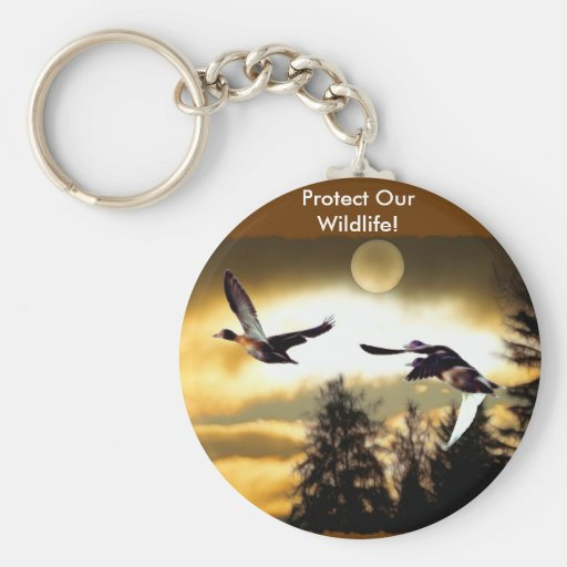 FLYING DUCKS BASIC ROUND BUTTON KEYCHAIN